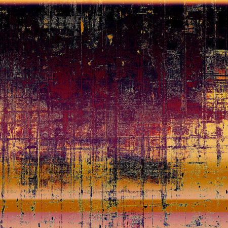 eroded: Vintage mottled frame, textured grunge background with different color patterns: yellow (beige); brown; black; red (orange); purple (violet); pink