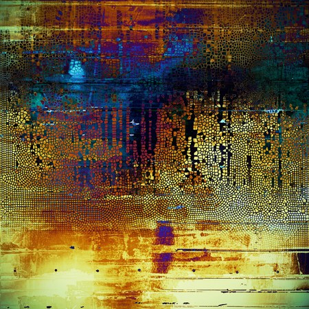Vintage background in scrap-booking style, faded grunge texture with different color patterns: yellow (beige); brown; black; blue; red (orange); purple (violet)