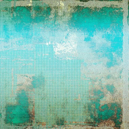 Antique frame or background with vintage feeling. Aged texture with different color patterns: brown; green; blue; gray; cyan