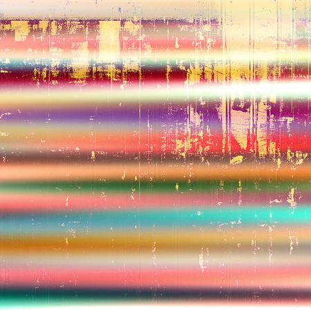 eroded: Old style decorative composition or designed vintage template with textured grunge elements and different color patterns: yellow (beige); green; blue; red (orange); purple (violet); pink