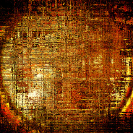 Spherical colorful vintage background, grunge texture with scratches, stains and different color patterns: yellow (beige); brown; black; red (orange)