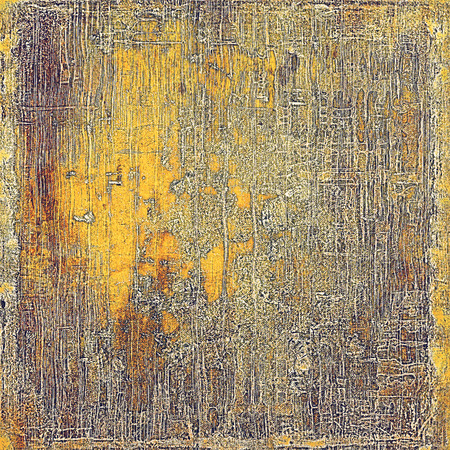 eroded: Antique frame or background with vintage feeling. Aged texture with different color patterns: yellow (beige); brown; red (orange); purple (violet); gray