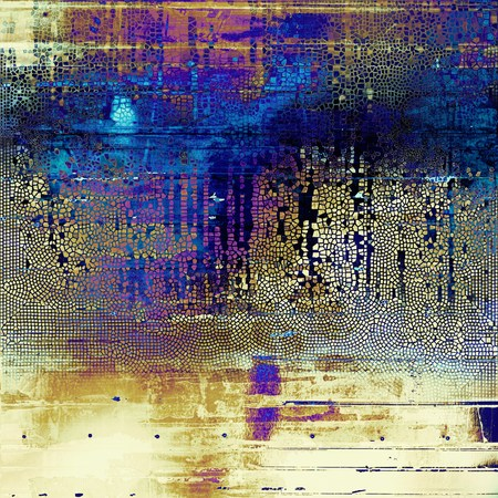 Vintage mottled frame, textured grunge background with different color patterns: yellow (beige); blue; purple (violet); white; cyan; pink