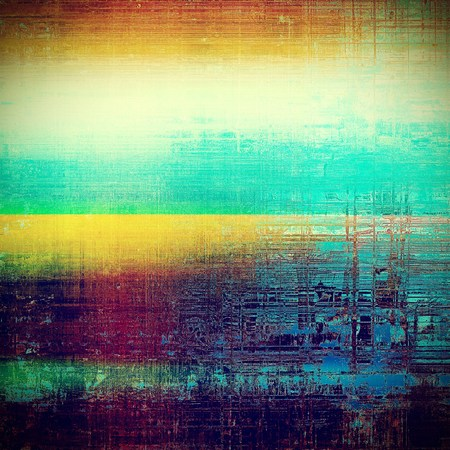 eroded: Grunge texture, aged or old style background with retro design elements and different color patterns: green; blue; red (orange); purple (violet); yellow (beige); cyan Stock Photo
