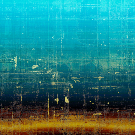 Vintage decorative background, antique grunge texture with different color patterns: blue; red (orange); yellow (beige); brown; black; cyan Stock Photo