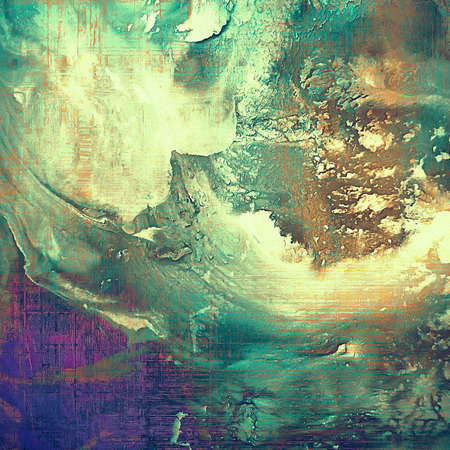 eroded: Grunge abstract textured background, aged backdrop with different color patterns: green; blue; purple (violet); yellow (beige); brown; cyan