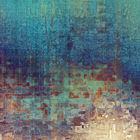 dull: Old style design, textured grunge background with different color patterns: blue; purple (violet); yellow (beige); brown; cyan; pink