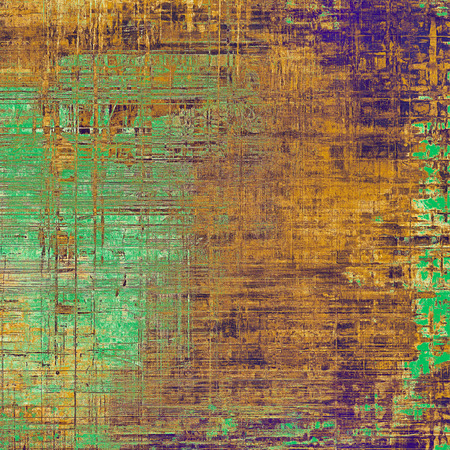 eroded: Abstract scratched background or frame with weathered grunge texture. Ancient style backdrop with different color patterns: green; purple (violet); yellow (beige); brown