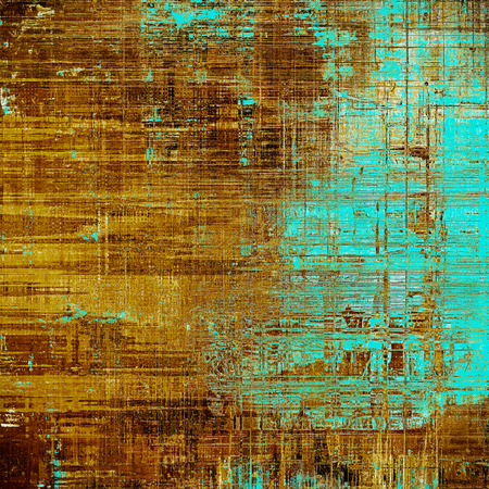 Old style decorative composition or designed vintage template with textured grunge elements and different color patterns: blue; yellow (beige); brown; cyan Stock Photo