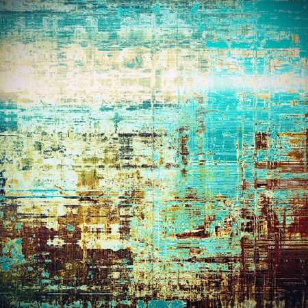 backdrop grungy: Aged textured background, macro closeup grungy backdrop with different color patterns: blue; yellow (beige); brown; white; cyan Stock Photo