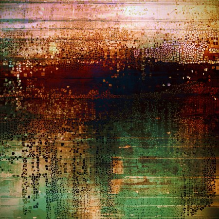 eroded: Vintage background, antique grunge backdrop or scratched texture with different color patterns: green; blue; red (orange); yellow (beige); brown; pink