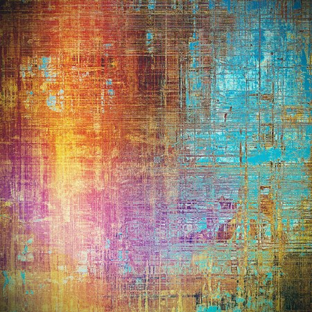 eroded: Highly detailed scratched texture, aged grungy background. Vintage style composition with different color patterns: blue; red (orange); yellow (beige); brown; pink; cyan Stock Photo