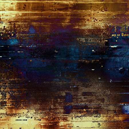 eroded: Abstract vintage background with grunge effects, ragged elements, and different color patterns: blue; purple (violet); yellow (beige); brown; black