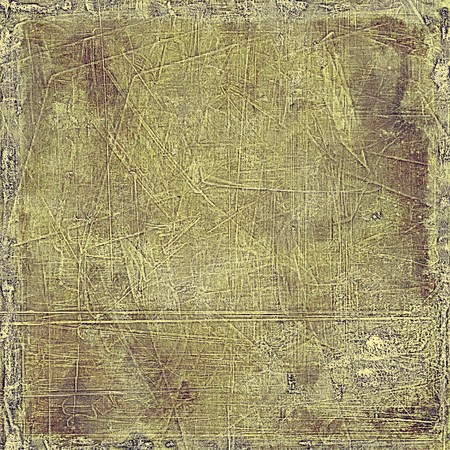 eroded: Creative vintage surface texture, close up grunge background composition. With different color patterns: gray; green; yellow (beige); brown Stock Photo