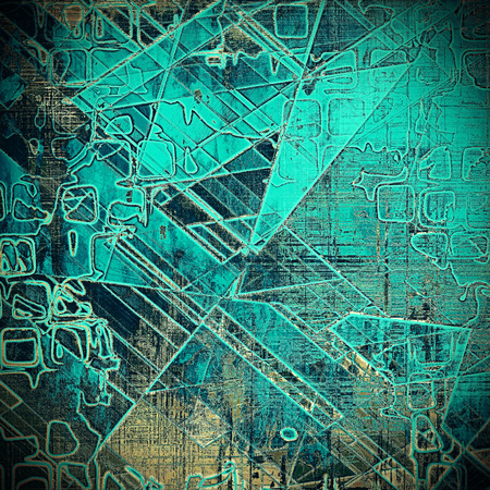 patched: Geometric grunge scratched background, abstract vintage style texture with different color patterns: yellow (beige); brown; blue; gray; black; cyan