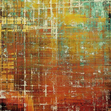 Vintage background in scrap-booking style, faded grunge texture with different color patterns: yellow (beige); brown; green; blue; red (orange); pink Stock Photo