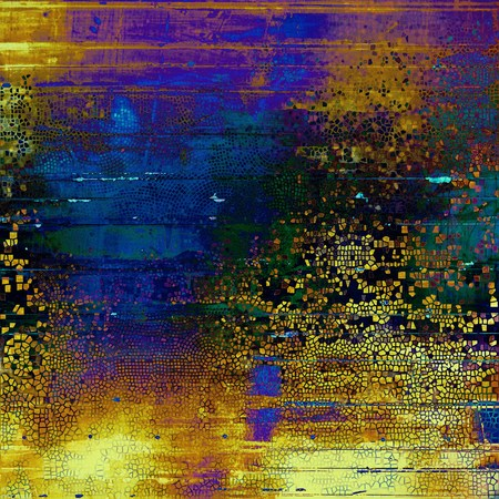 Oldest vintage background in grunge style. Ancient texture with different color patterns: yellow (beige); brown; green; blue; red (orange); purple (violet)