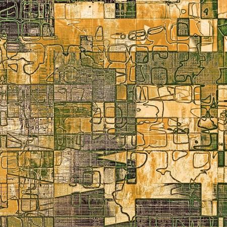 Fond grunge géométrique rayé, texture abstraite de style vintage avec des motifs de couleurs différentes: jaune (beige); marron; vert; gris; noir Banque d'images