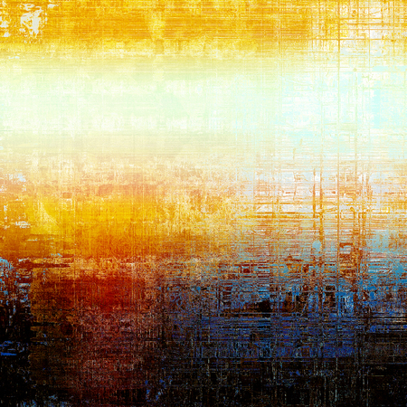 Vintage background, antique grunge backdrop or scratched texture with different color patterns: yellow (beige); blue; red (orange); black; white; cyan
