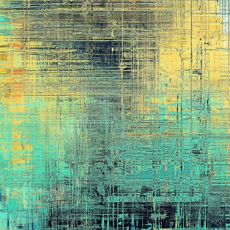 Traditional grunge background, scratched texture with vintage style design and different color patterns: yellow (beige); brown; blue; red (orange); black; cyan Stock Photo