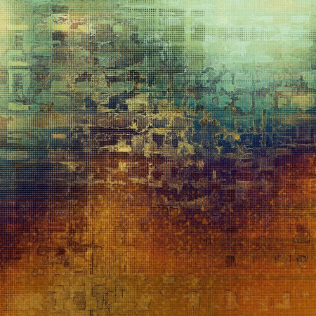 patched: Old background with grunge decorative elements. Retro composition for your design. With different color patterns: yellow (beige); green; blue; red (orange); purple (violet); cyan