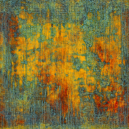 crosshatching: Retro style graphic composition on textured grunge background. With different color patterns: yellow (beige); gray; green; blue; red (orange); cyan Stock Photo