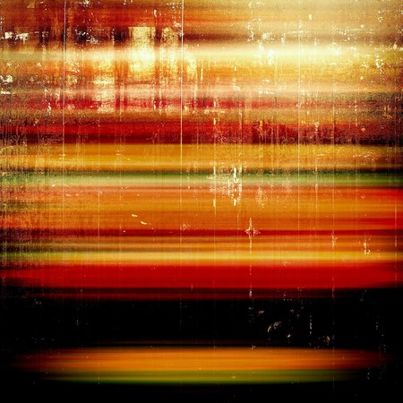 Old school frame or background with grungy textured elements and different color patterns: yellow (beige); brown; green; red (orange); black; pink Stock Photo