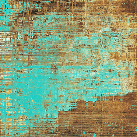 Vintage old-style texture, worn and rough grunge background with different color patterns: yellow (beige); brown; blue; cyan Stock Photo