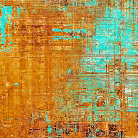 Old style decorative composition or designed vintage template with textured grunge elements and different color patterns: yellow (beige); brown; blue; red (orange) Stock Photo