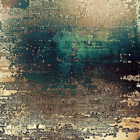 corrosion: Highly detailed scratched texture, aged grungy background. Vintage style composition with different color patterns: yellow (beige); brown; gray; green; blue; cyan