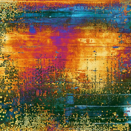 obscure: Vintage torn texture or stylish grunge background with ancient design elements and different color patterns: yellow (beige); green; blue; red (orange); purple (violet)