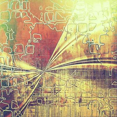exceptional: Geometric retro style graphic composition on textured grunge background. With different color patterns: yellow (beige); brown; green; red (orange); pink