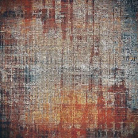 obscure: Background with grunge elements on vintage style old texture. With different color patterns: yellow (beige); brown; gray; red (orange); cyan