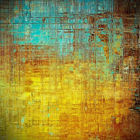 eroded: Old school frame or background with grungy textured elements and different color patterns: yellow (beige); brown; blue; red (orange)