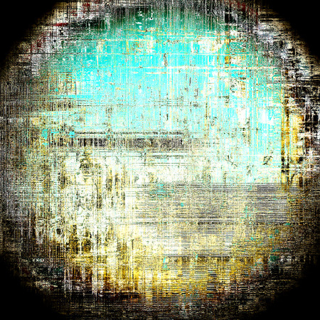 Spherical grunge texture or background with retro design elements and different color patterns: yellow (beige); brown; green; blue; black; white Stock Photo