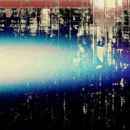 Traditional grunge background, scratched texture with vintage style design and different color patterns: brown; blue; red (orange); black; white Stock Photo