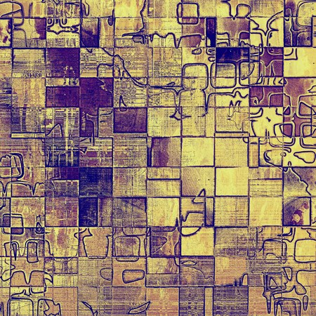 eroded: Geometric grunge background or vintage texture in traditional retro style. With different color patterns: yellow (beige); brown; gray; blue; purple (violet)