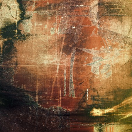 eroded: Damaged retro texture with grunge style elements and different color patterns: yellow (beige); brown; gray; green; red (orange) Stock Photo