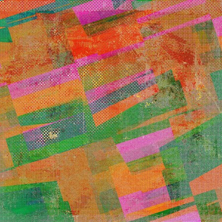 eroded: Geometric old style design, textured grunge background with different color patterns: yellow (beige); brown; green; blue; red (orange); pink