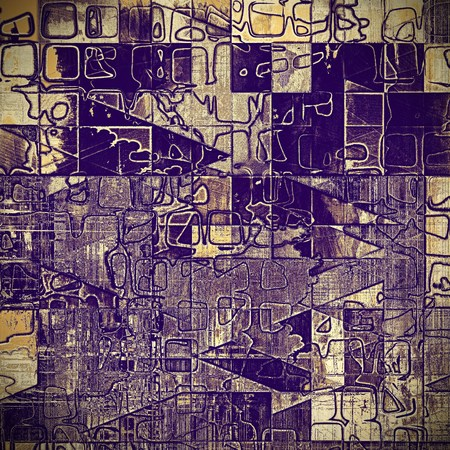 obscure: Geometric old style distressed vintage background or texture. With different color patterns: yellow (beige); brown; gray; purple (violet)