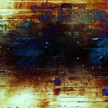 Old abstract texture used as shabby grungy background. With different color patterns: yellow (beige); brown; blue; red (orange); purple (violet); black