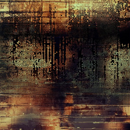 burned: Mottled vintage background with grunge texture and different color patterns: yellow (beige); brown; gray; red (orange); black; cyan Stock Photo