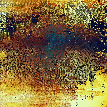 Grunge texture in ancient style, aged background with creative decor and different color patterns: yellow (beige); brown; blue; red (orange); purple (violet)