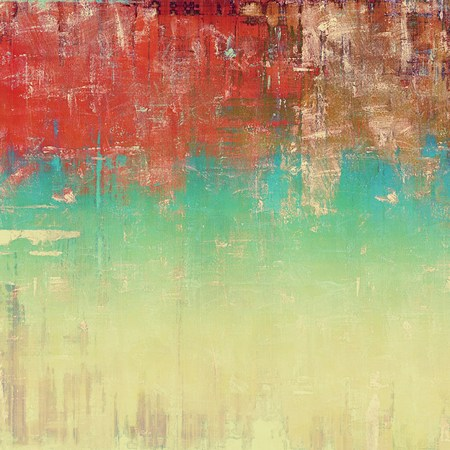 eroded: Vintage textured background with copy space. Old style backdrop with different color patterns: yellow (beige); brown; blue; red (orange); white; pink Stock Photo