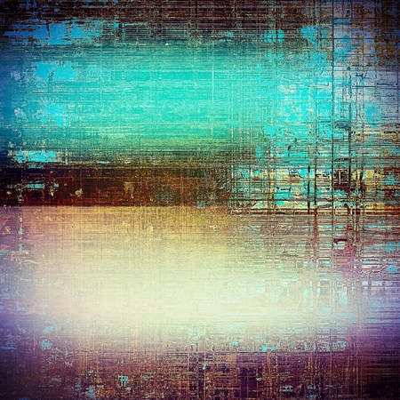 Old style decorative composition or designed vintage template with textured grunge elements and different color patterns: yellow (beige); brown; green; blue; purple (violet); white Stock Photo