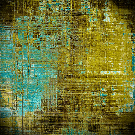urban decay: Vintage mottled frame, textured grunge background with different color patterns: yellow (beige); brown; blue; cyan; black