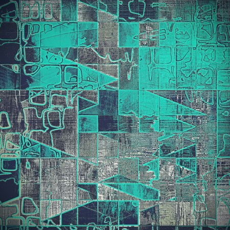 Geometric vintage frame, grunge background with old style decor elements and different color patterns: gray; blue; cyan; black