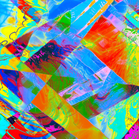 Geometric damaged retro texture with grunge style elements and different color patterns: yellow (beige); green; blue; red (orange); purple (violet); pink