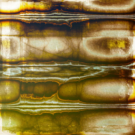 Abstract dirty texture or grungy background. With old style decorative elements and different color patterns: yellow (beige); brown; gray; green; red (orange); black Stock Photo