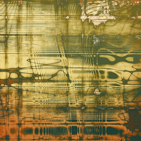 eroded: Colorful grunge texture or background with vintage style elements and different color patterns: yellow (beige); brown; gray; green